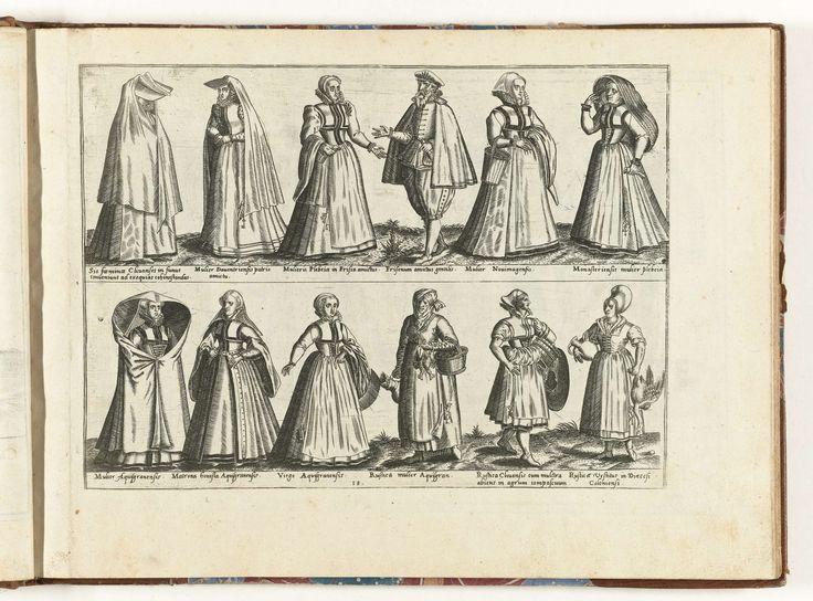Vrouwen en mannen van verschillende standen, gekleed volgens de mode in Duitsland, ca. 1580, Abraham de Bruyn, 1581