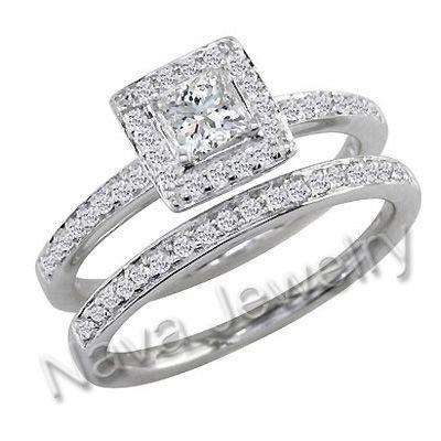 pave princess cut engagement ring with side stones | ... Natural Princess Cut Diamond Halo Pave Set Engagement Wedding Set Ring