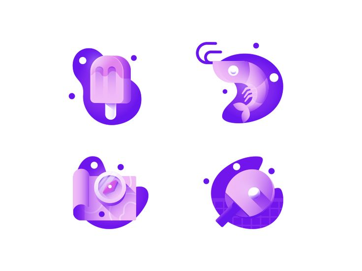Summer gradient icons View on Dribbble