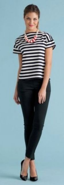 outfit post: striped top, black 'editor' ankle pants, black wedges | Outfit Posts