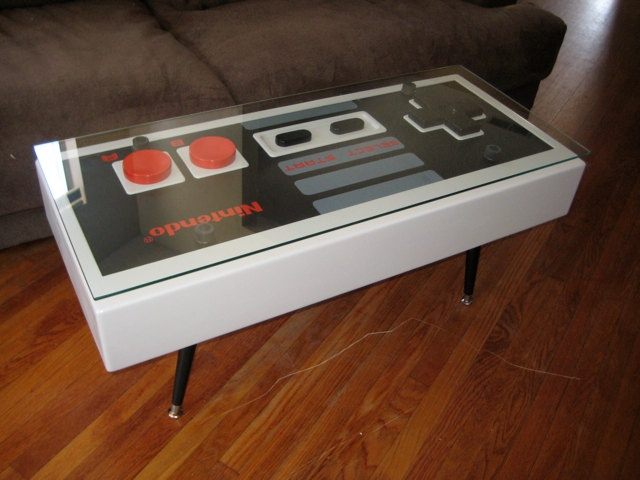 Nintendo Controller Coffee Table. $1,950.00, via Etsy.Coffe Tables, Coffee Tables, Nintendo Control, Games Room, Woman Caves, Control Coffee, Super Nintendo, Coffee Cups, Diy Home