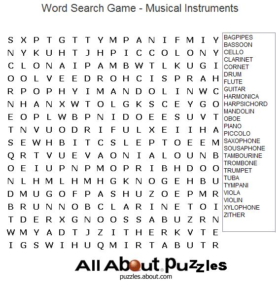 Printable Word Search Puzzles : Musical Instruments Word Search