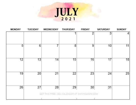 Pretty Printable 2021 Calendar, Monday Start! in 2021 ...