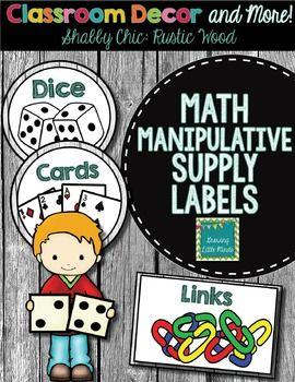 Math Manipulative Supply Labels- Shabby Chic Shiplap wood decor