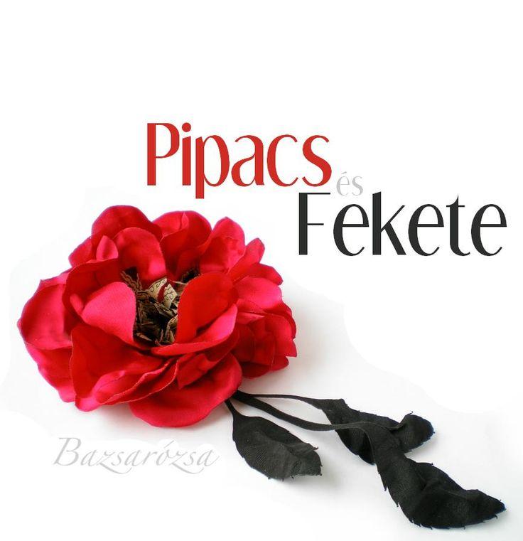 pipacs, vörös, fekete, Bazsarózsa, kitűző