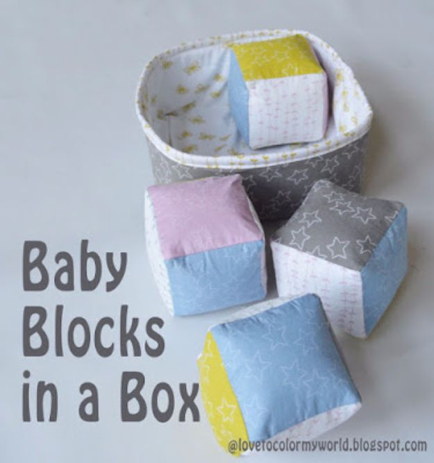 51 Things to Sew for Baby - Baby Blocks In A Box - Cool Gifts For Baby, Easy Things To Sew And Sell, Quick Things To Sew For Baby, Easy Baby Sewing Projects For Beginners, Baby Items To Sew And Sell http://diyjoy.com/sewing-projects-for-baby