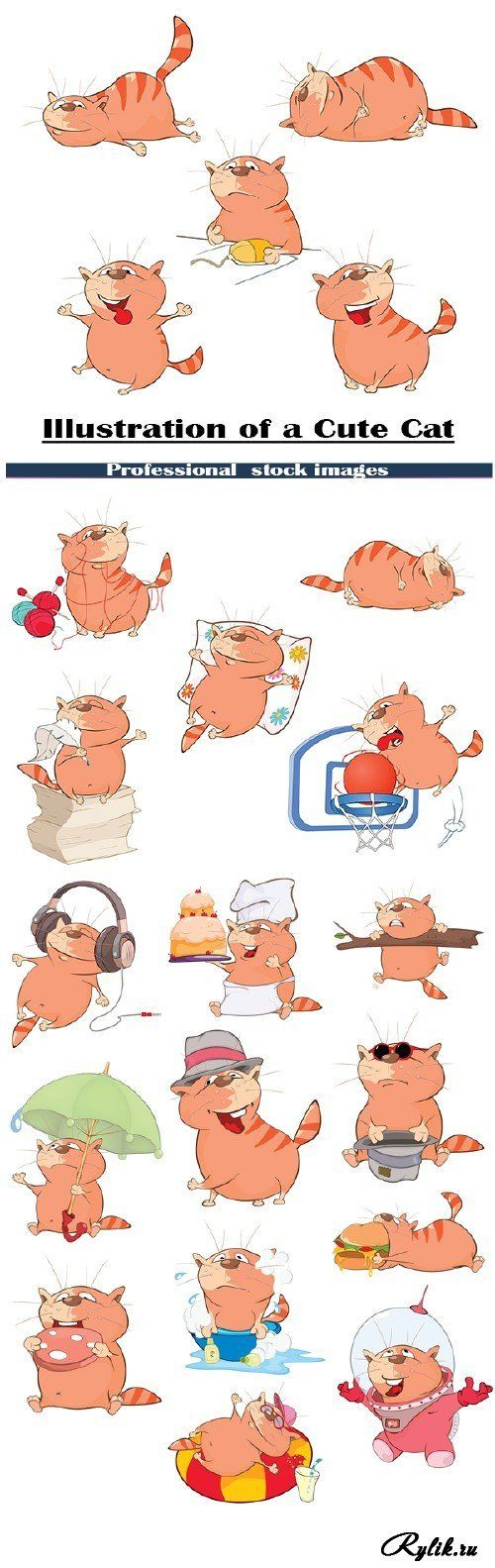 Забавные иллюстрации кота - векторный клипарт