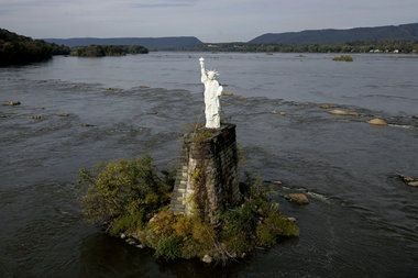 Statue of Liberty on Susquehanna River - I love catching glimpses of this from the road!