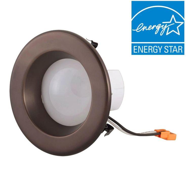 EnviroLite 4 in. Bronze Trim Integrated LED Recessed Ceiling Light, 3000K, 95 CRI, 632 Lumen