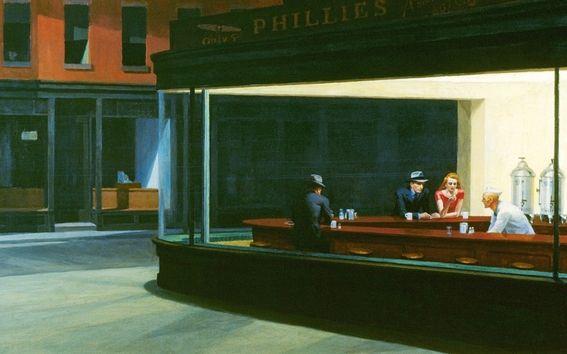 "Obras: ""Gas / Noctámbulo""  Artista: Edward Hopper  Canción que inspiró: ""Nighthawk Postcards"" de Tom Waits"