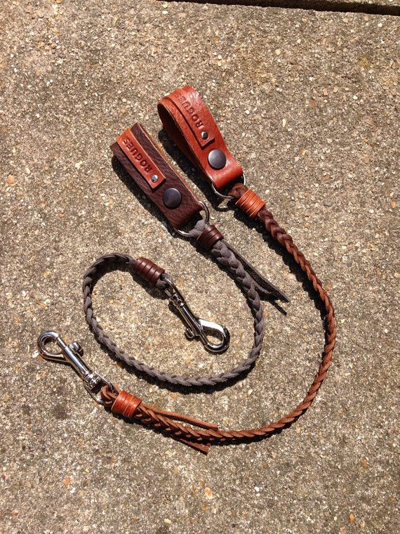 Grey, tan, brown, black real leather hand braided Lanyard key or wallet chain. on Etsy, £27.50