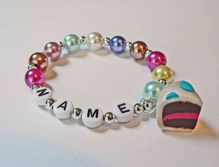 Birthday Cake Charm Bracelet Cake Name Bracelet Clay Cake Party Favor for Baby Toddler Child and Kids. $4.50, via Etsy.