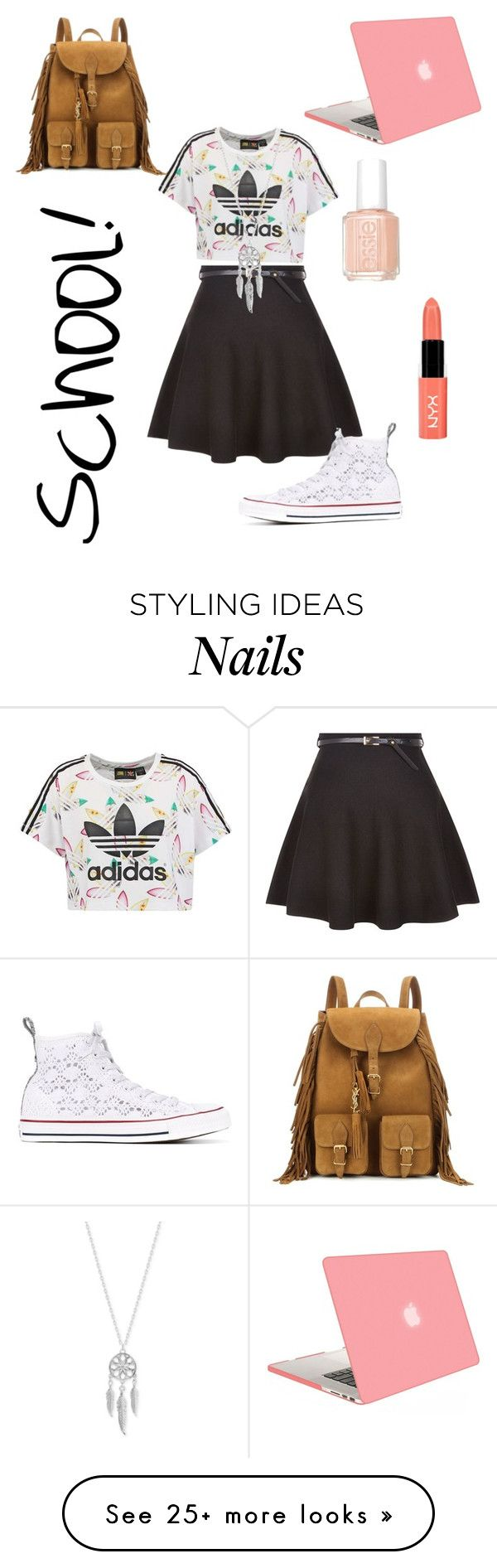 """School!"" by lillianne2004fashion on Polyvore featuring New Look, adidas Originals, Converse, Yves Saint Laurent, Essie, NYX and Lucky Brand"