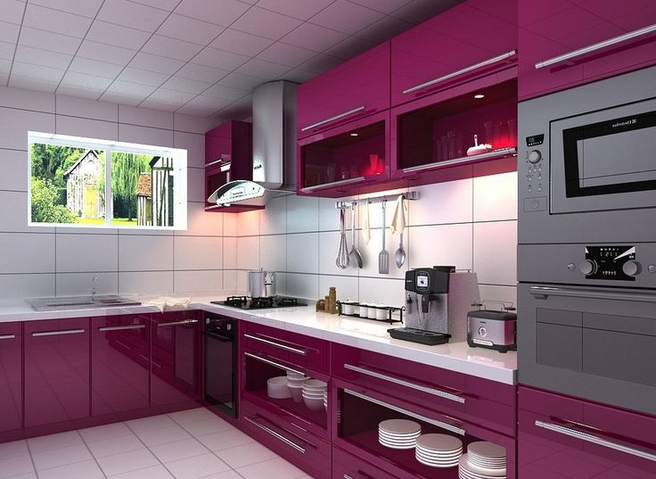 Purple Kitchen Cabinets | Purple Kitchen Cabinets 3D View
