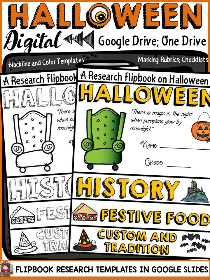 Have your students write a research report on Halloween with this hands-on digital resource. Students will document information in fun flipbook-style templates in google slides ( a free app in the google drive suite). Students have the option to digitally submit the completed flipbook report on Halloween for feedback and grading. Student checklists and marking rubrics included. https://www.teacherspayteachers.com/Product/HALLOWEEN-DIGITAL-RESEARCH-REPORT-FLIPBOOK-GOOGLE-DRIVE-3461071