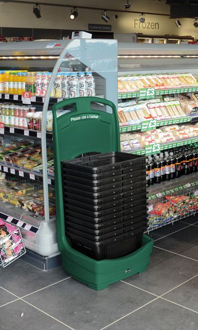 Ideal for supermarkets and convenience shops, Mobile Basket Buddy™ is an indoor storage unit for baskets, whilst encouraging customers to take a basket. The integral handle and wheels make it easy to manoeuvre. #GlasdonUK #StorageUnit #BasketHolder