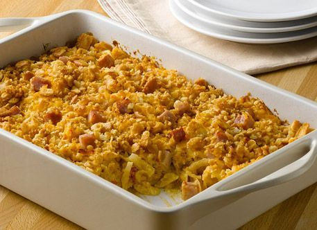 This cheesy ham and potato casserole is a perfect recipe to make when serving a crowd.  If you are headed to a party just bake and take.