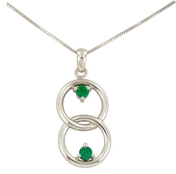 18K white gold emerald pendant necklace with 2 round cut natural Colombian emeralds in 0.29 Ct. t.w. by www.GreenInGold.com #emeralds #pendant #necklace