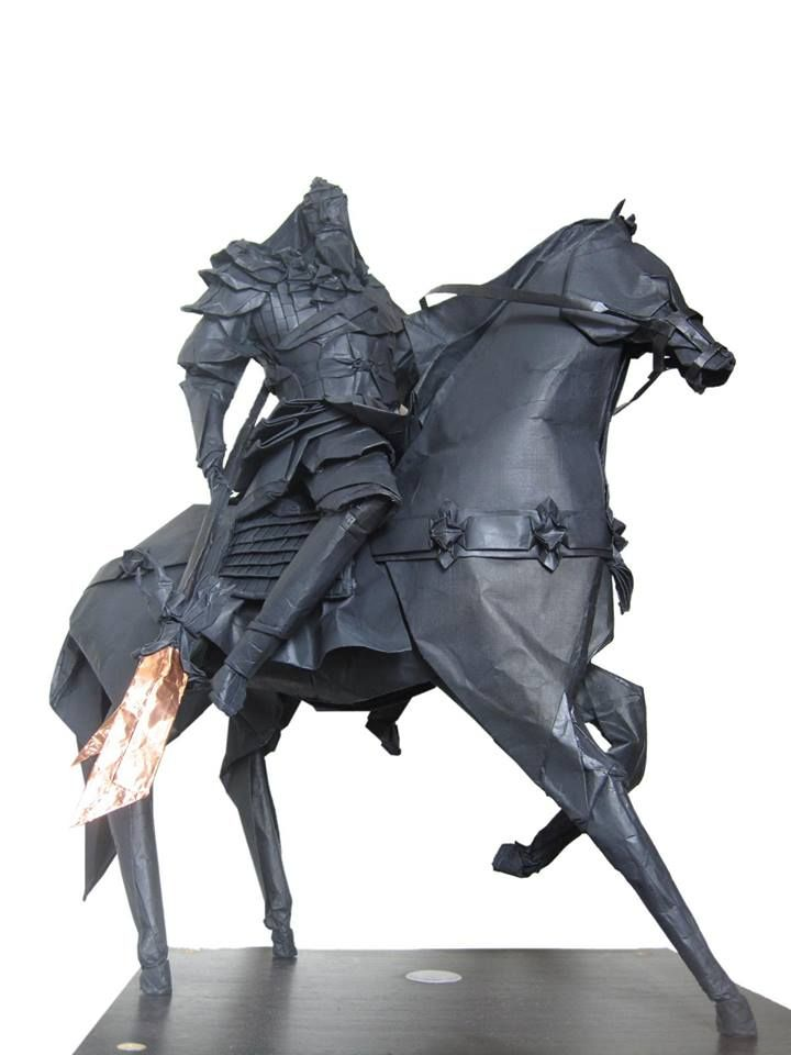Origami black knight and horse