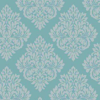 Decorline Sparkle Damask Wallpaper Teal Silver Code
