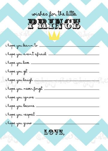Baby Shower Game   Wishes For The Baby Boy   Little Prince   Crown   Chevron