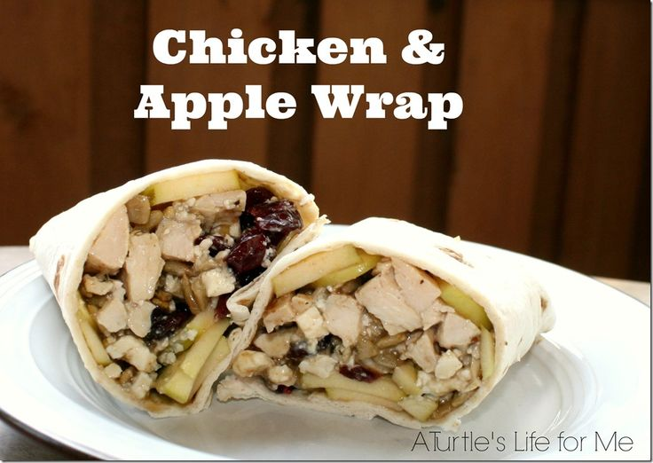 Chicken  apple wrap with dried cranberries and cheese.