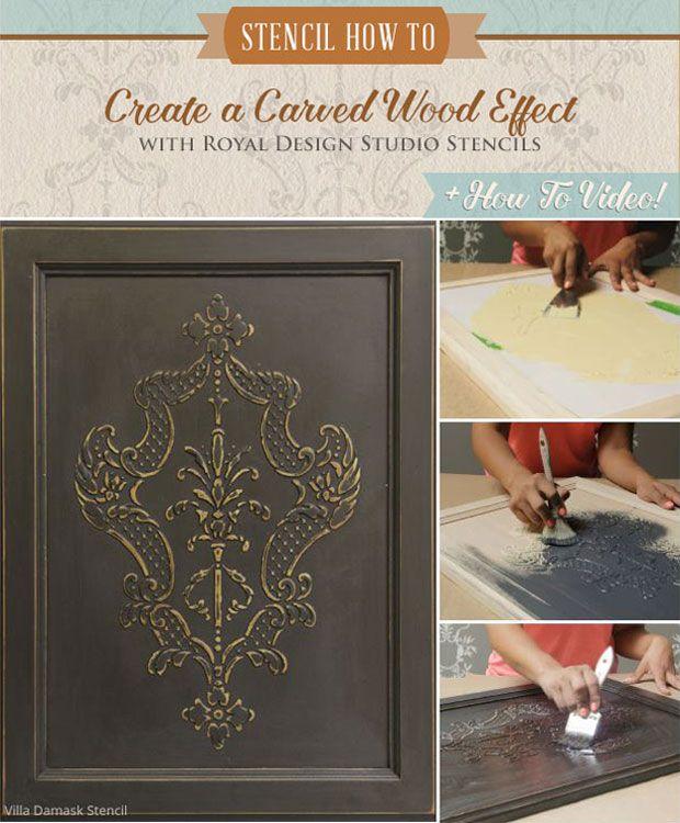 Cómo Stencil Tutorial: Crear un efecto de madera tallado con plantillas y Wood formación de hielo ™ - Royal Design Studio Muebles Plantillas