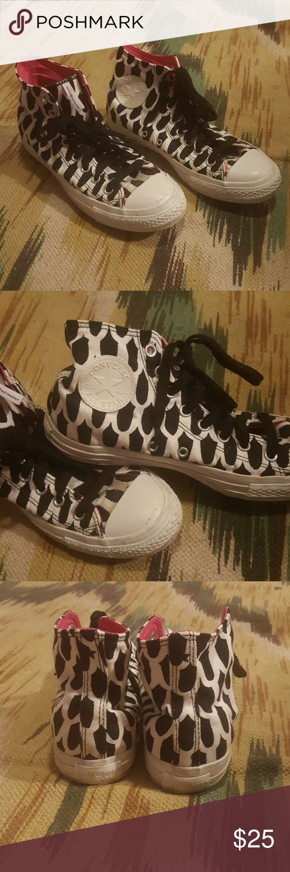 Converse Marimekko High top Marimekko converse, black and white exterior, pink interior, gently used, very good condition Converse Shoes Sneakers