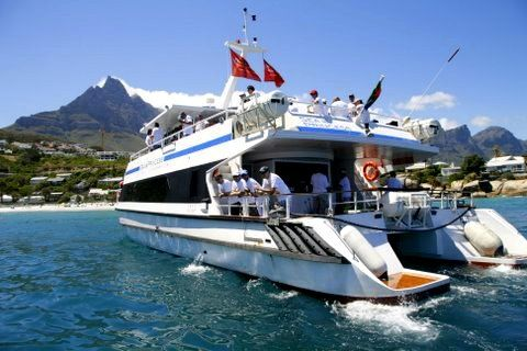 We operate from the V&A Waterfront, and among the most popular places that we visit are Clifton, Moulle Point and Robben Island, with really great views of Table Mountain. The catamaran hull provides a really stable experience. The vessel is very popular for Weddings and other events.