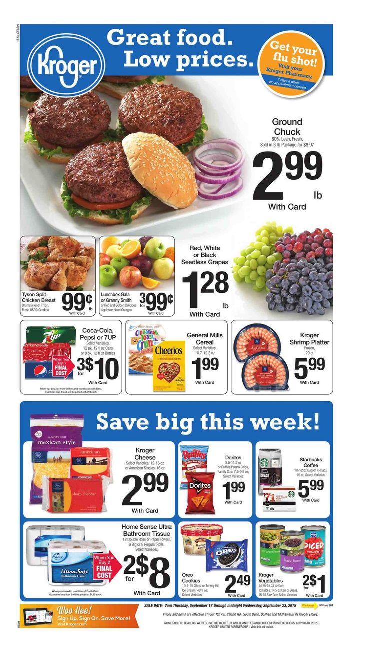 Kroger Weekly Ad September 17 - 23, 2015 - http://www.kaitalog.com/kroger-weekly-ad.html
