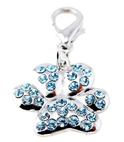 Brighten up your dog's collar or leash with this cute and sparkly paw charm available in three different colours!