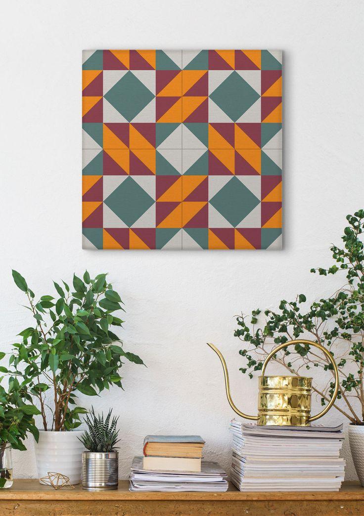 Modernist Print, Barcelona Tiles, Ceramic Tile Design, Wall Decoration, Canvas Wraps, Wall Art by Macrografiks on Etsy