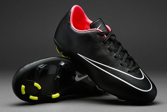 Nike Junior Football Boots - Nike Mercurial Jnr Victory V FG - Firm Gorund - Kids Soccer Cleats - Black-Black-Hyper Punch-White