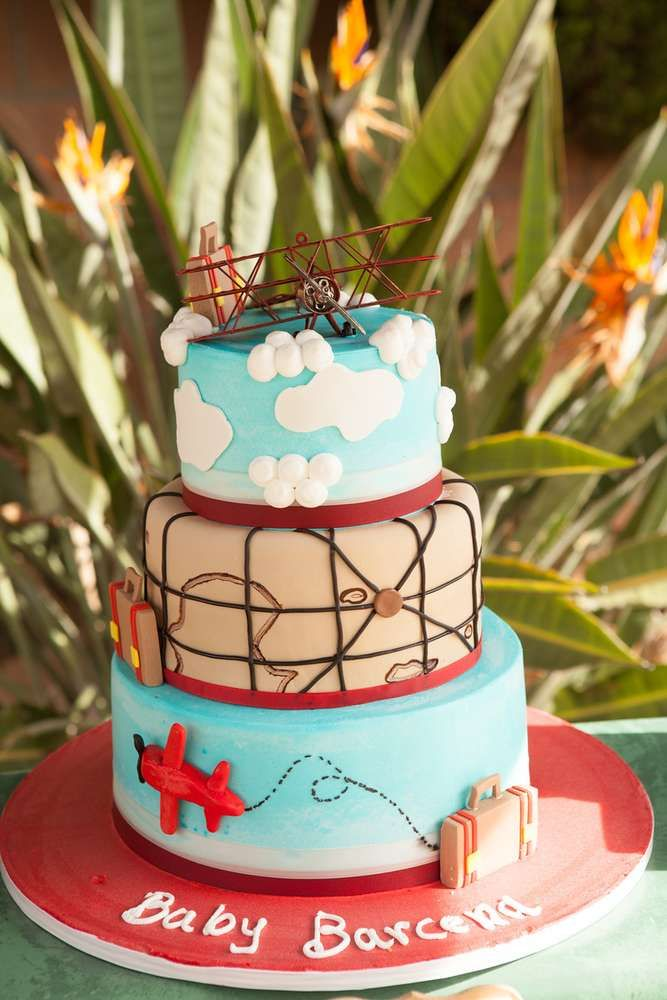 Stunning cake from a vintage airplane baby shower party for Airplane baby shower decoration ideas