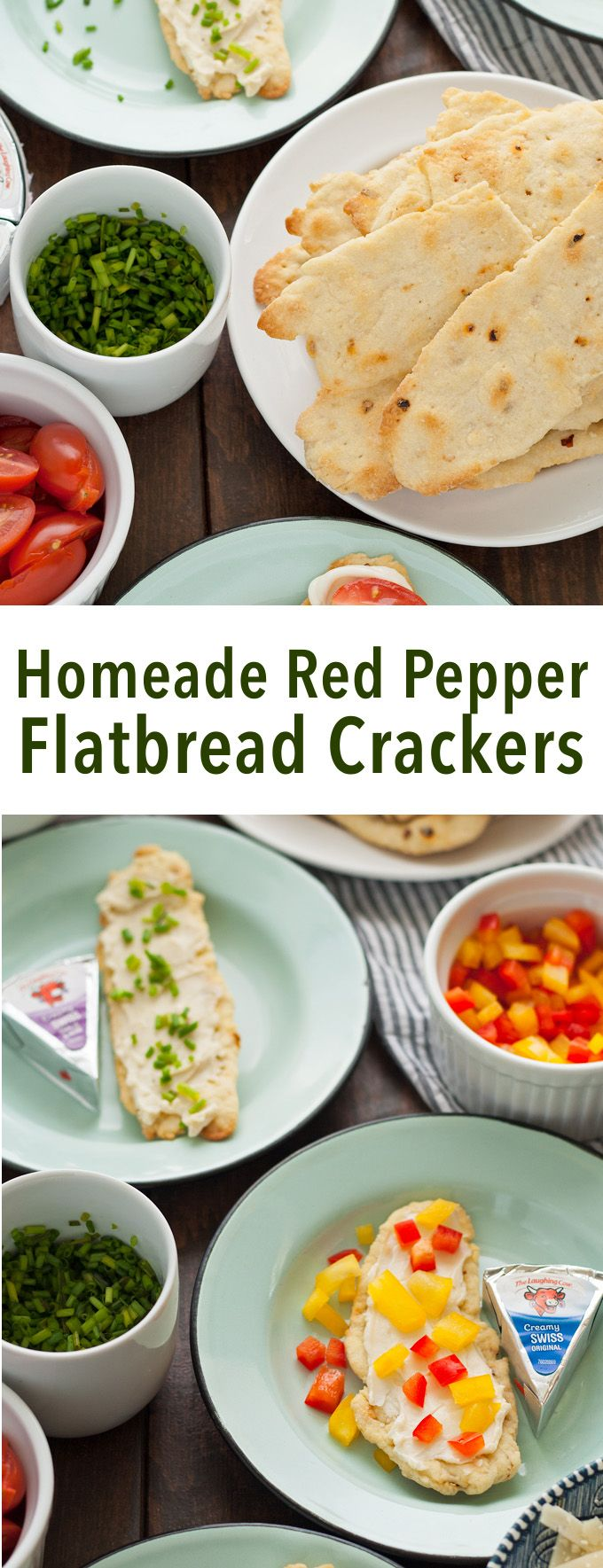 Try these homemade red pepper flatbread crackers with Laughing Cow cheese and some of my easy topping suggestions to reinvent snacking! | honeyandbirch.com