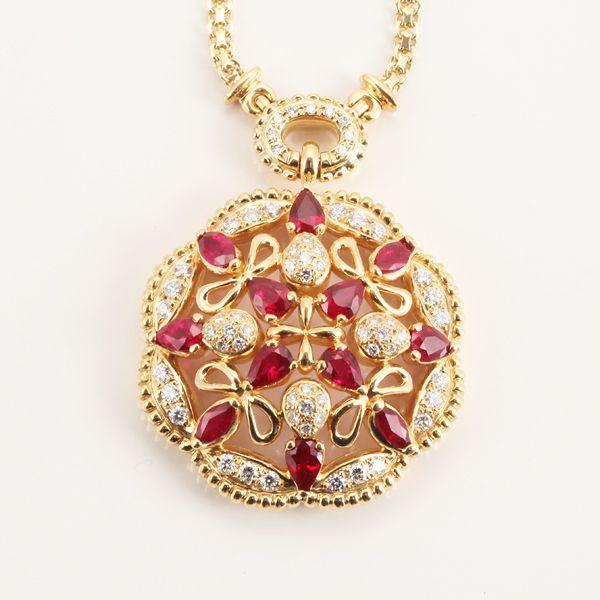 【中古】K18 ルビー ネックレス/ダイヤモンド0.92ct、ルビー3.63ctの58cmネックレスです。/新品同様・極美品・美品の中古ブランド時計を格安で提供いたします。
