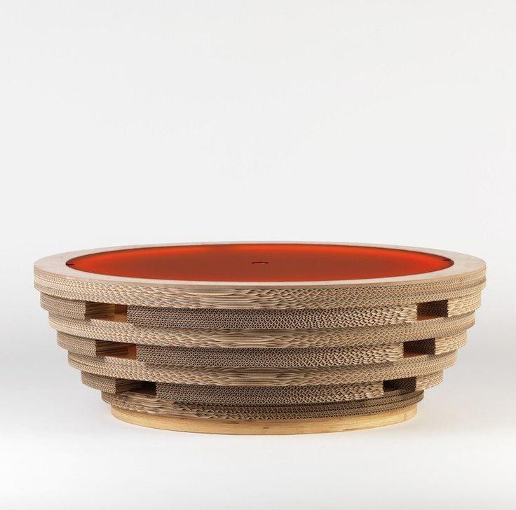 Tavolino Lampada In Cartone Tappo XL Rosso Di Lessmore Design Giorgio Caporaso