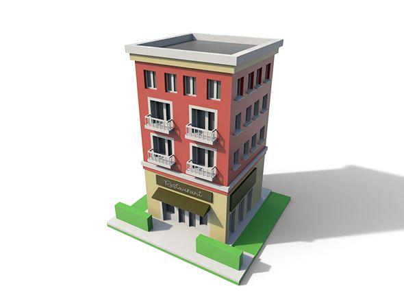 Low Poly Cartoon Building Cartoon Building House Illustration
