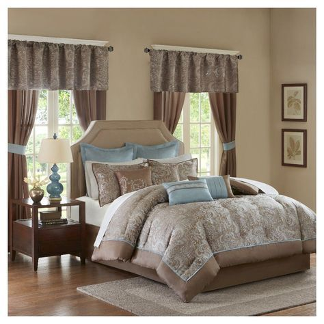 Blue&Brown Isabella Embroidered Paisley Bedroom in a Bag Comforter Set (King) - 24pc, Blue