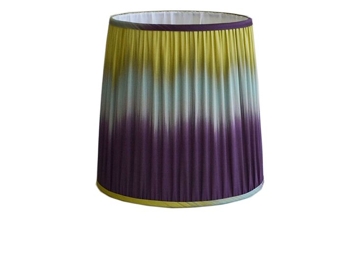 Aubergine/Lime ikat Chaucer pleated lampshade