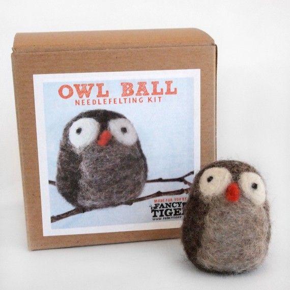 Owl Ball Needle Felting Kit