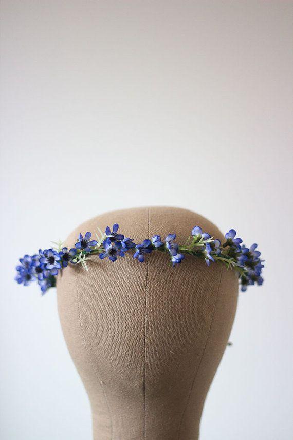 Pretty Blue Australian Native Wax Flower Crown Halo Wreath Photoshoot Thin Simple Unique Australiana Repurposed Leather Baby Boy Shower Chic
