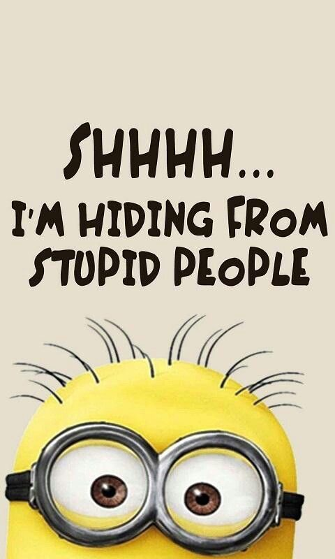 Funny Minion, Shhhh I am hiding from stupid people 。◕‿◕。 See my Despicable Me Minions pins https://www.pinterest.com/search/my_pins/?q=minions