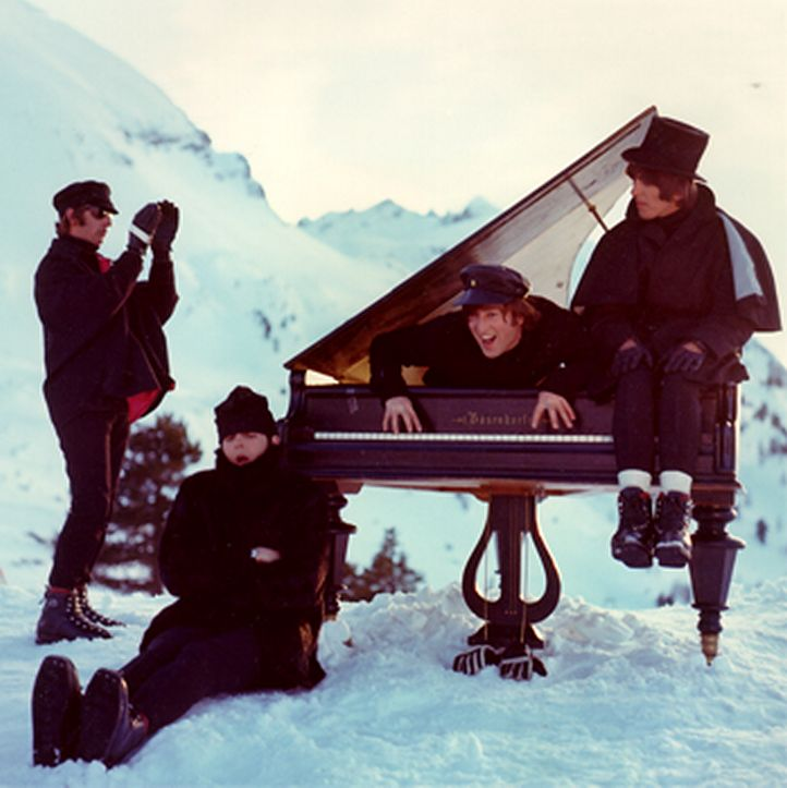 """Ringo Starr, Paul McCartney, John Lennon, and George Harrison photographed by Robert Freeman in Obertauern, Austria, during the production of """"Help!"""", 1965"""