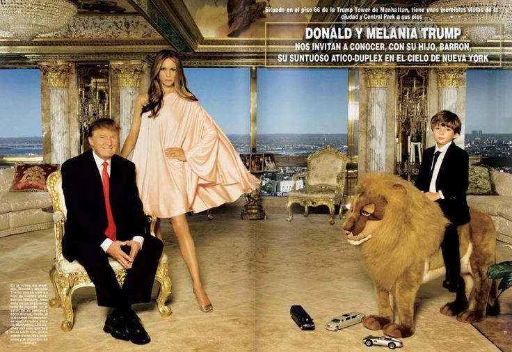 Donald J. , Melania, and son, Barron Trump riding on a rocking lion.