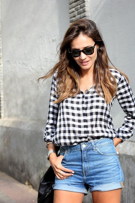 Gingham Button Down Shirt and Cuffed Denim Shorts #style #fashion #blogger