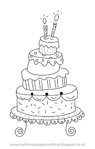 Mellymoo papercrafting free digital stamp hand drawn cake doodle