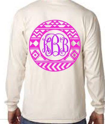 Aztec Circle Monogram Shirt, Aztec Shirt, Monogram Shirt, Vinyl Shirt, long Sleeve Aztec Shirt, Tribal Shirt, by SweetSouthernSassAL on Etsy https://www.etsy.com/listing/230563689/aztec-circle-monogram-shirt-aztec-shirt