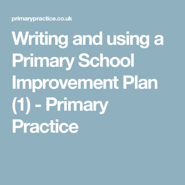 Writing and using a Primary School Improvement Plan (1) - Primary Practice