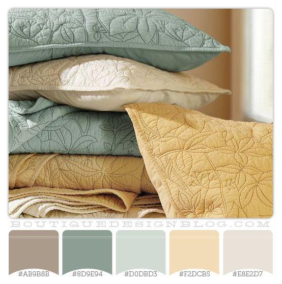 Sage Green and Gold color scheme: House Ideas, Color Schemes, Design Ideas, Colors, Organic Quilt, Gold Color Scheme, Master Bedroom, Color Palette, Pottery Barn